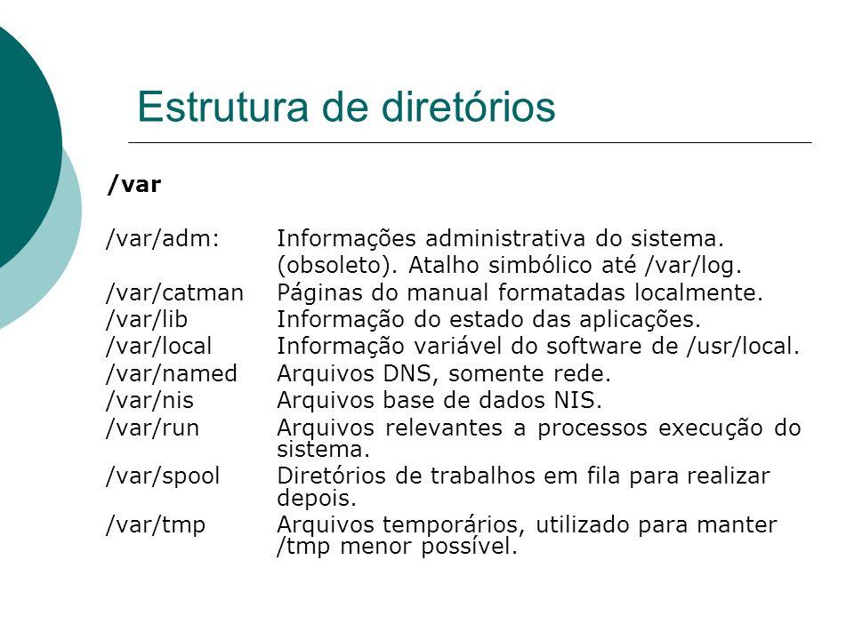 Estrutura de diretórios /var /var/adm: Informações administrativa do sistema. (obsoleto). Atalho simbólico até /var/log. /var/catman Páginas do manual