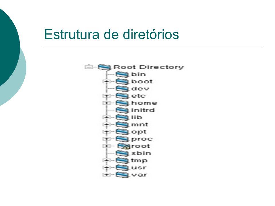 Estrutura de diretórios /proc Informações e processos do kernel: O diretório /proc contém um sistema de arquivo virtual, com informações gerais do sistema e processo do kernel.