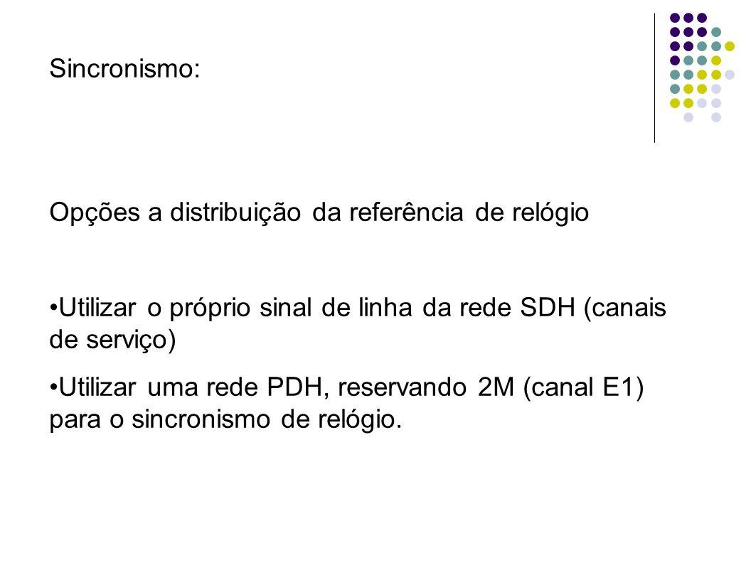 Sincronismo: Opções a distribuição da referência de relógio Utilizar o próprio sinal de linha da rede SDH (canais de serviço) Utilizar uma rede PDH, r