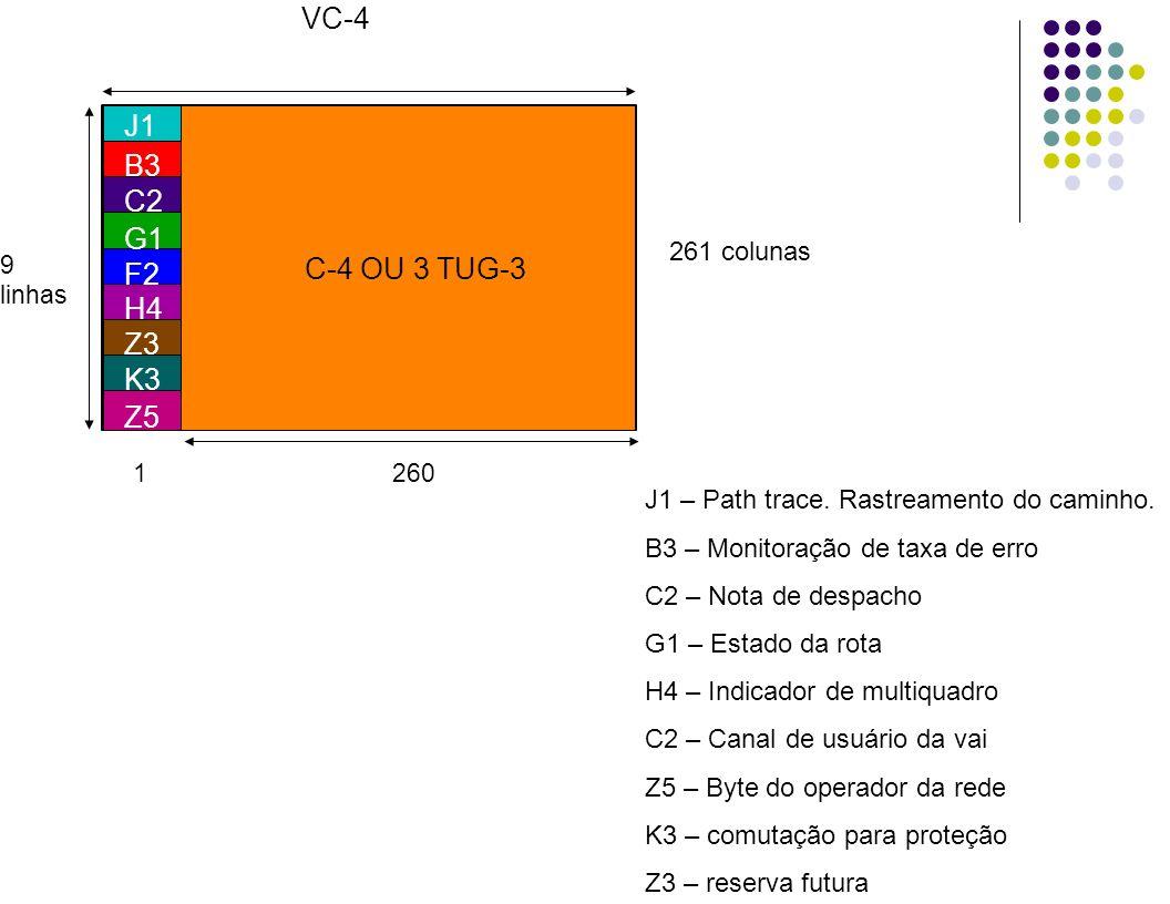 261 colunas 9 linhas VC-4 1 260 B3 C2 G1 F2 H4 Z3 K3 Z5 J1 C-4 OU 3 TUG-3 J1 – Path trace. Rastreamento do caminho. B3 – Monitoração de taxa de erro C