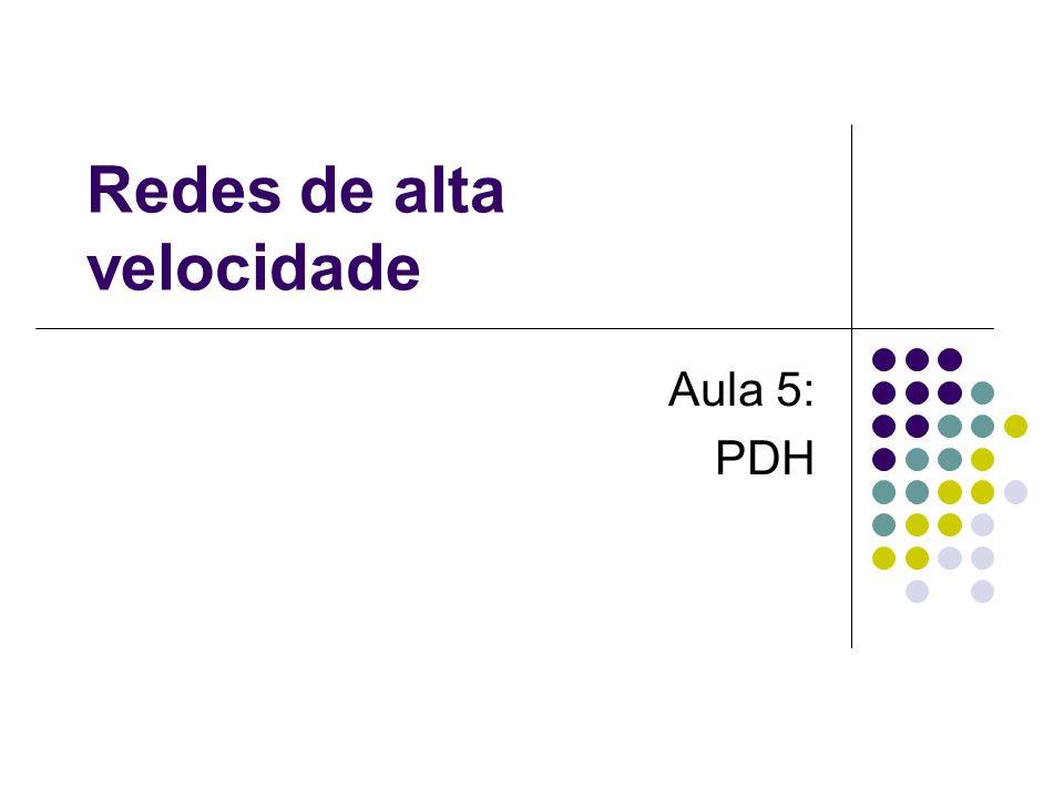 Hierarquia de Multiplexagem PDH Hierarquia Digital Plesiócrona Como ocorre diferença nos clocks é necessário inseri bits de justificativa para sincronizar as mensagens.