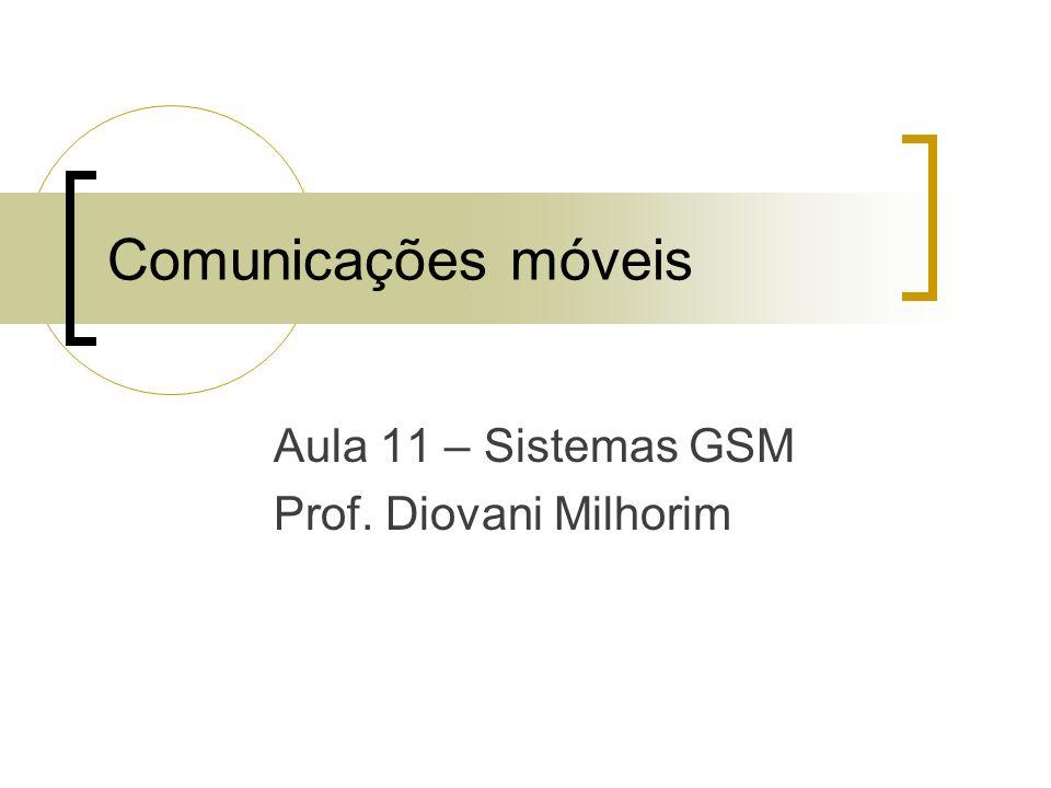 Aula 11 – Sistemas GSM Prof. Diovani Milhorim Comunicações móveis