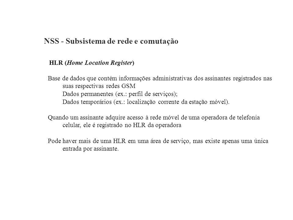 NSS - Subsistema de rede e comutação HLR (Home Location Register) Base de dados que contém informações administrativas dos assinantes registrados nas