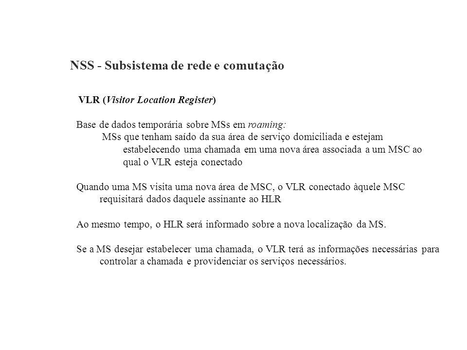 NSS - Subsistema de rede e comutação VLR (Visitor Location Register) Base de dados temporária sobre MSs em roaming: MSs que tenham saído da sua área d