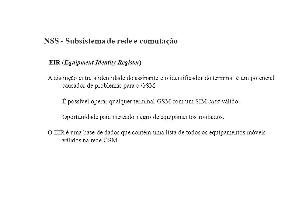NSS - Subsistema de rede e comutação EIR (Equipment Identity Register) A distinção entre a identidade do assinante e o identificador do terminal é um