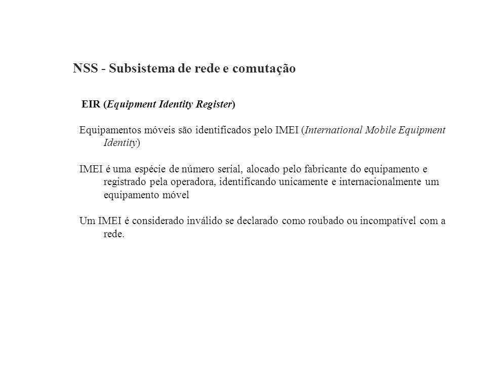 NSS - Subsistema de rede e comutação EIR (Equipment Identity Register) Equipamentos móveis são identificados pelo IMEI (International Mobile Equipment