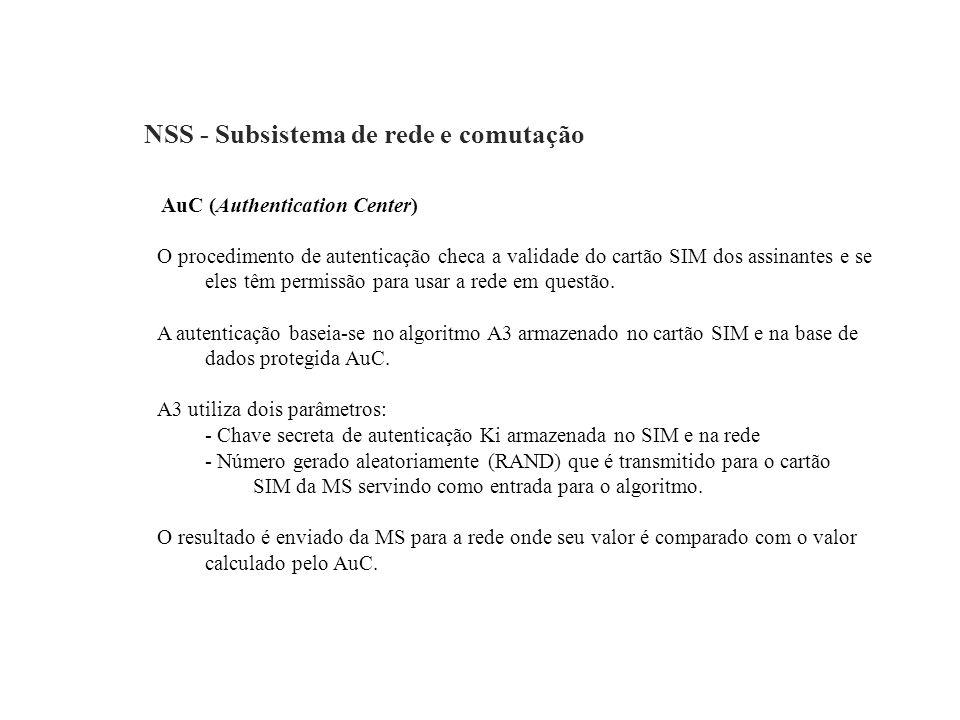 NSS - Subsistema de rede e comutação AuC (Authentication Center) O procedimento de autenticação checa a validade do cartão SIM dos assinantes e se ele