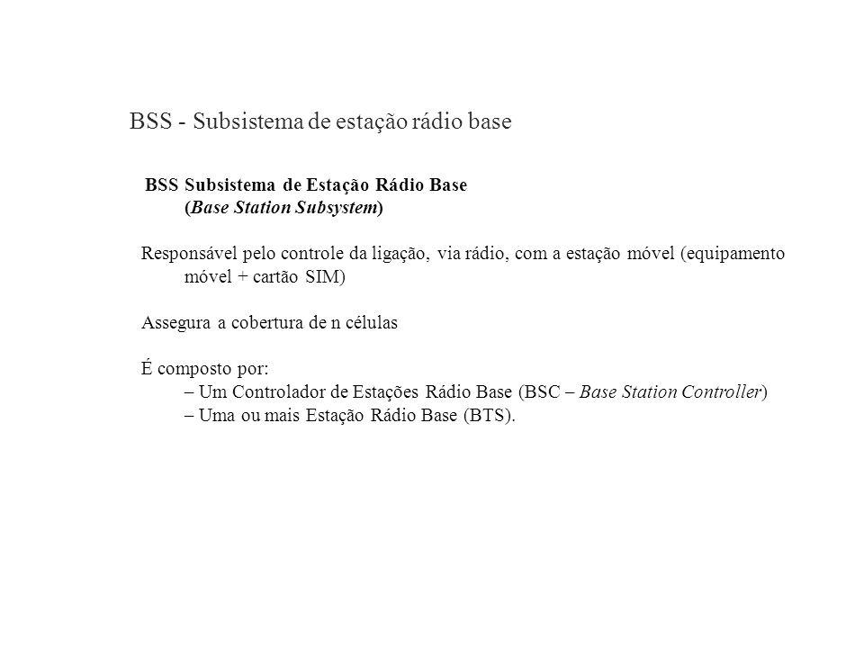 BSS - Subsistema de estação rádio base BSS Subsistema de Estação Rádio Base (Base Station Subsystem) Responsável pelo controle da ligação, via rádio,