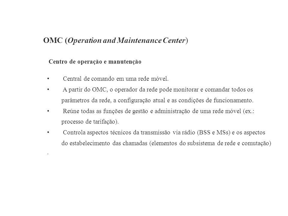 OMC (Operation and Maintenance Center) Centro de operação e manutenção Central de comando em uma rede móvel. A partir do OMC, o operador da rede pode