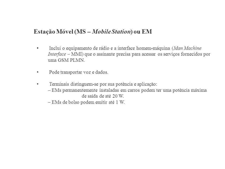 Estação Móvel (MS – Mobile Station) ou EM Inclui o equipamento de rádio e a interface homem-máquina (Man Machine Interface – MMI) que o assinante prec