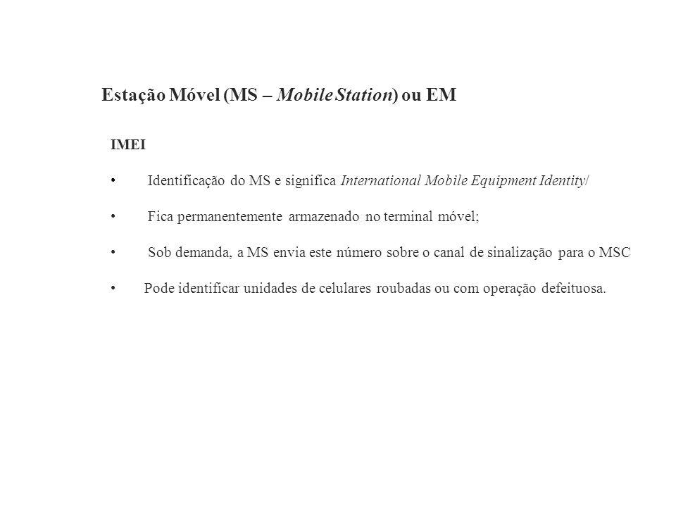 Estação Móvel (MS – Mobile Station) ou EM IMEI Identificação do MS e significa International Mobile Equipment Identity/ Fica permanentemente armazenad
