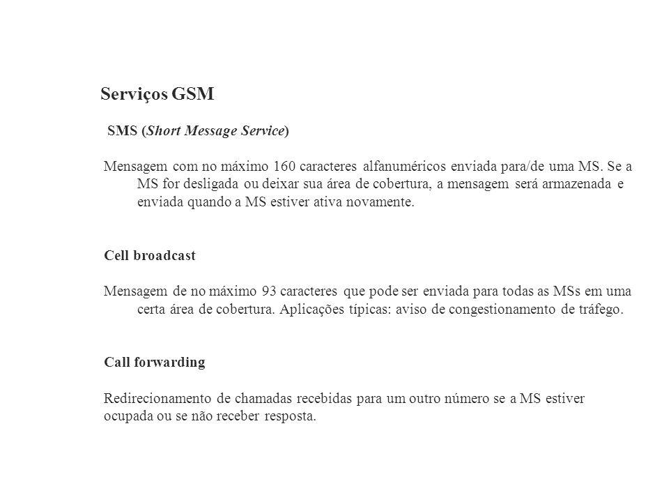 Serviços GSM SMS (Short Message Service) Mensagem com no máximo 160 caracteres alfanuméricos enviada para/de uma MS. Se a MS for desligada ou deixar s