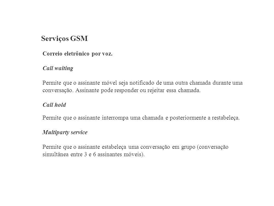 Serviços GSM Correio eletrônico por voz. Call waiting Permite que o assinante móvel seja notificado de uma outra chamada durante uma conversação. Assi