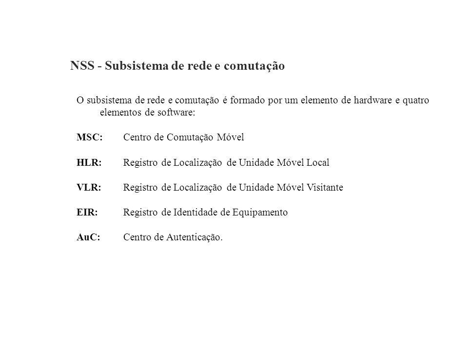 NSS - Subsistema de rede e comutação O subsistema de rede e comutação é formado por um elemento de hardware e quatro elementos de software: MSC: Centr