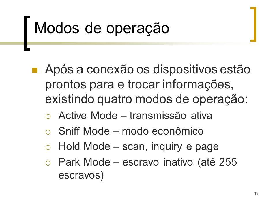 19 Modos de operação Após a conexão os dispositivos estão prontos para e trocar informações, existindo quatro modos de operação: Active Mode – transmi