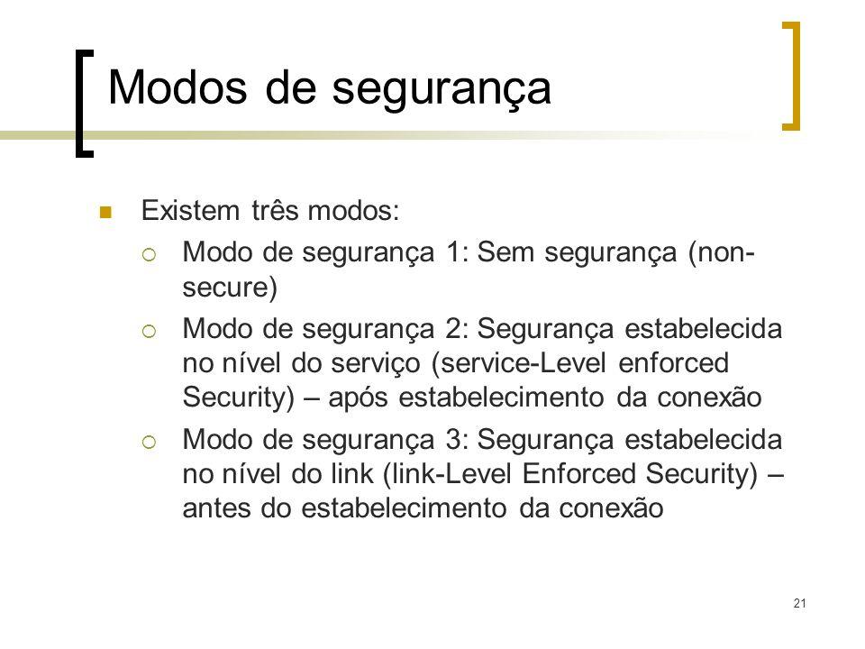 21 Modos de segurança Existem três modos: Modo de segurança 1: Sem segurança (non- secure) Modo de segurança 2: Segurança estabelecida no nível do ser