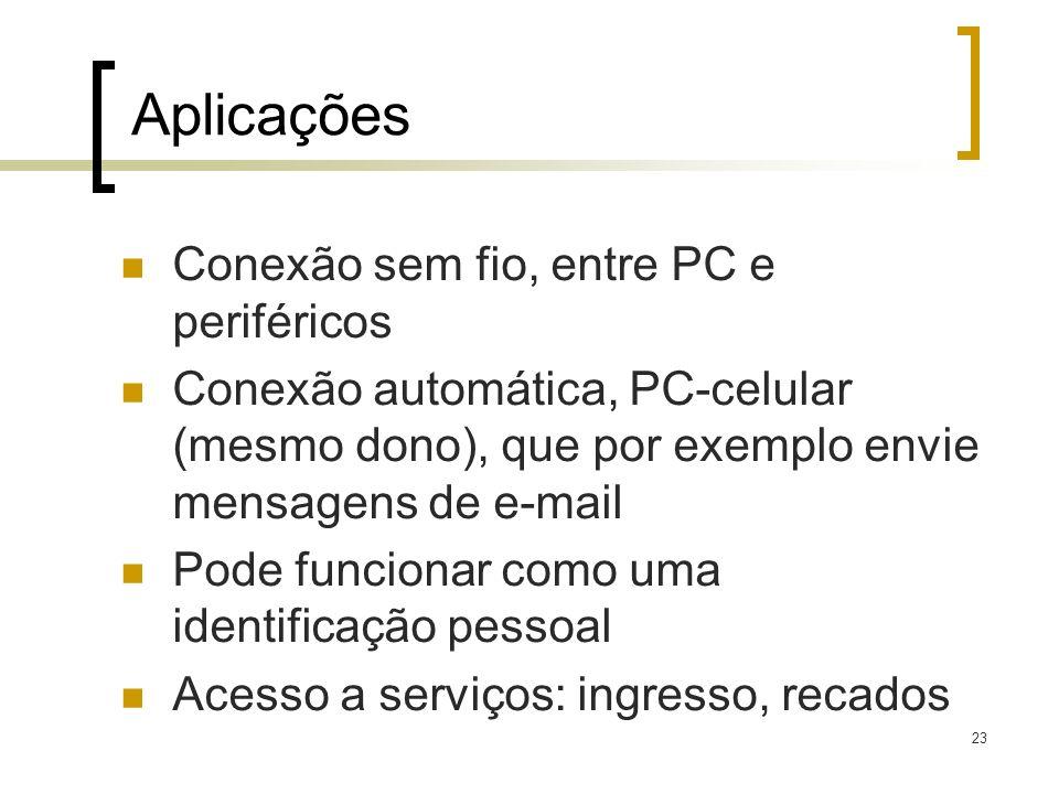 23 Aplicações Conexão sem fio, entre PC e periféricos Conexão automática, PC-celular (mesmo dono), que por exemplo envie mensagens de e-mail Pode func