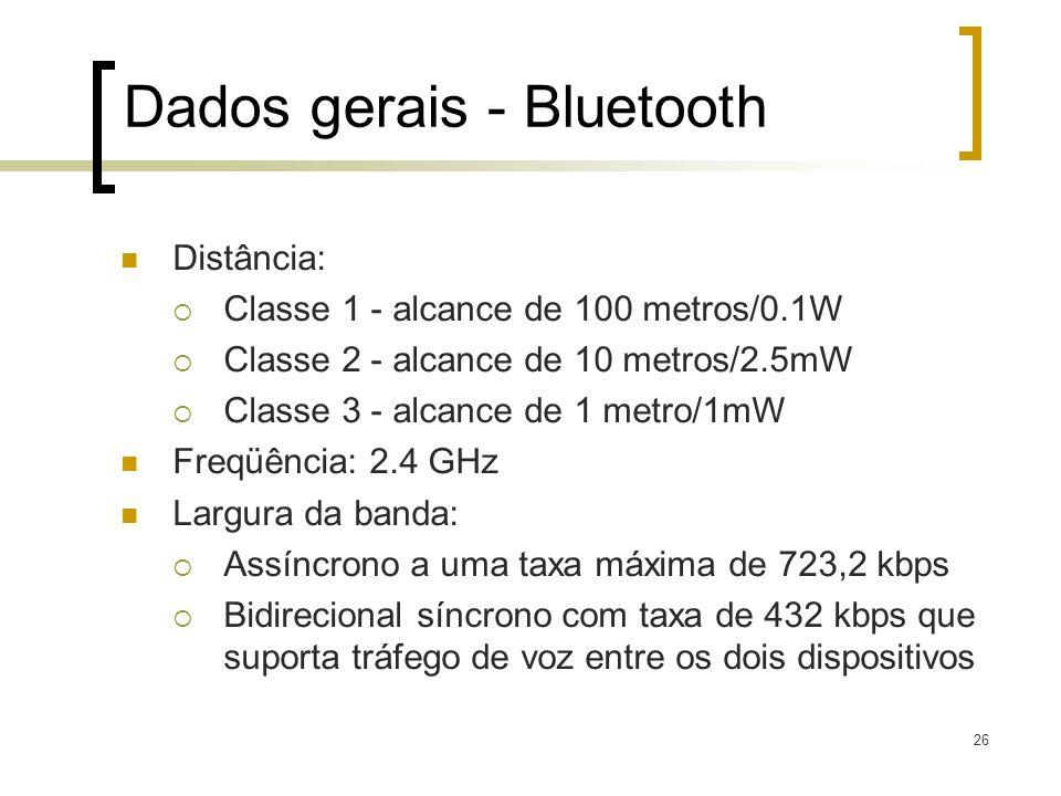 26 Dados gerais - Bluetooth Distância: Classe 1 - alcance de 100 metros/0.1W Classe 2 - alcance de 10 metros/2.5mW Classe 3 - alcance de 1 metro/1mW F