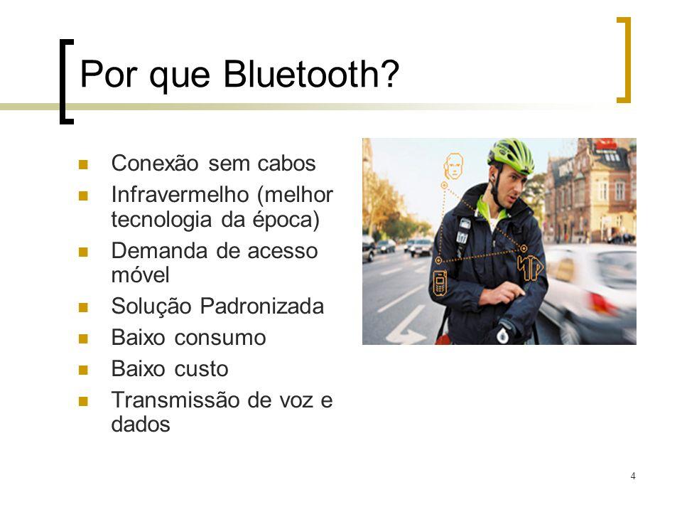 4 Por que Bluetooth? Conexão sem cabos Infravermelho (melhor tecnologia da época) Demanda de acesso móvel Solução Padronizada Baixo consumo Baixo cust