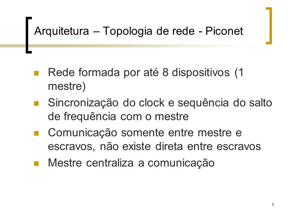 6 Arquitetura – Topologia de rede - Piconet Rede formada por até 8 dispositivos (1 mestre) Sincronização do clock e sequência do salto de frequência c