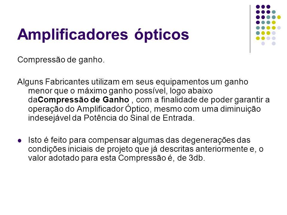 Amplificadores ópticos Compressão de ganho. Alguns Fabricantes utilizam em seus equipamentos um ganho menor que o máximo ganho possível, logo abaixo d