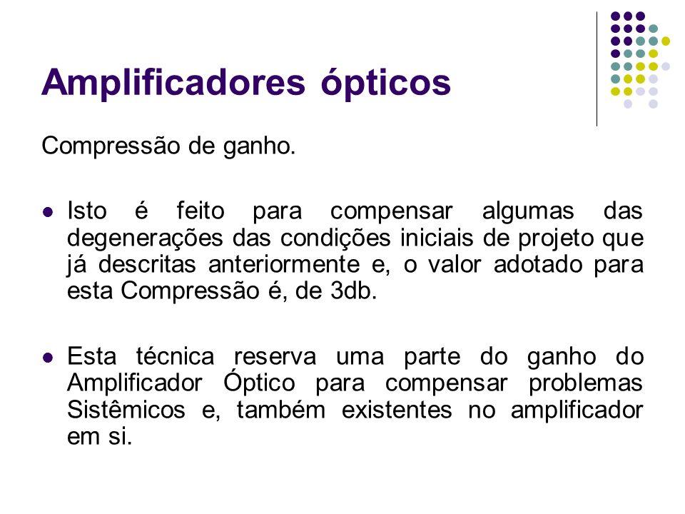 Amplificadores ópticos Compressão de ganho. Isto é feito para compensar algumas das degenerações das condições iniciais de projeto que já descritas an