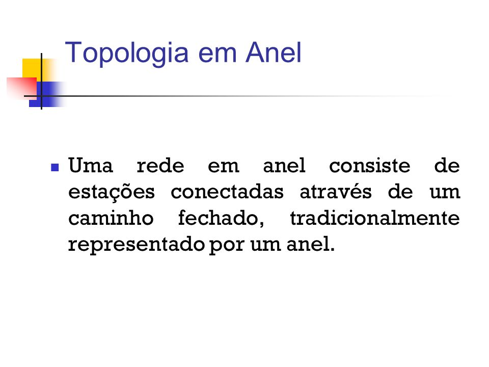 Topologia em Anel Uma rede em anel consiste de estações conectadas através de um caminho fechado, tradicionalmente representado por um anel.