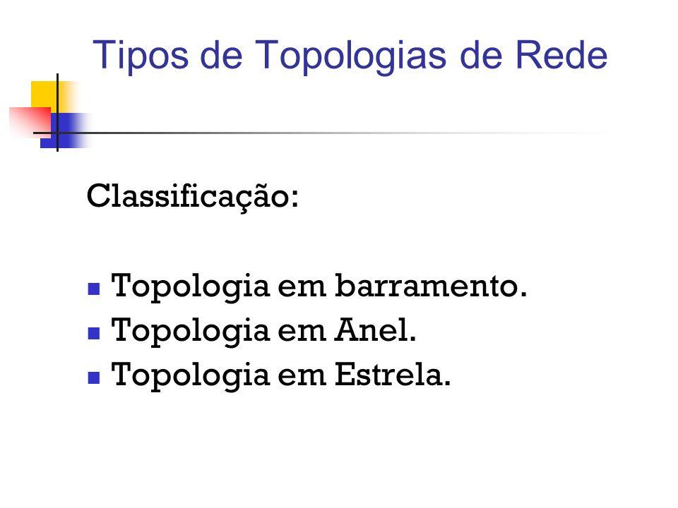 Tipos de Topologias de Rede Classificação: Topologia em barramento. Topologia em Anel. Topologia em Estrela.