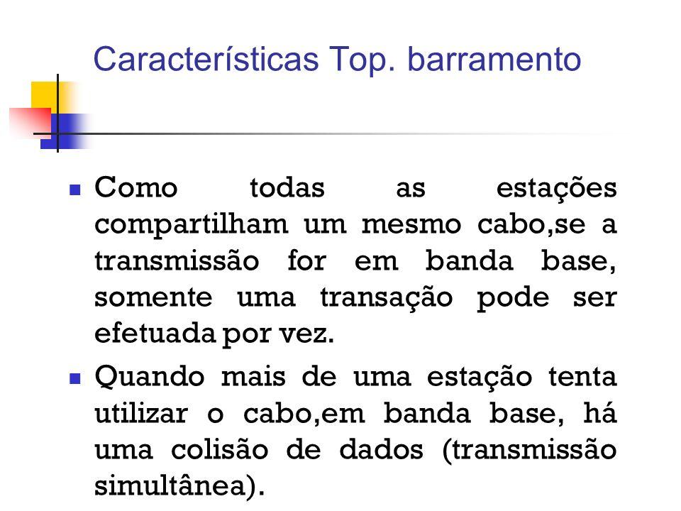 Características Top. barramento Como todas as estações compartilham um mesmo cabo,se a transmissão for em banda base, somente uma transação pode ser e