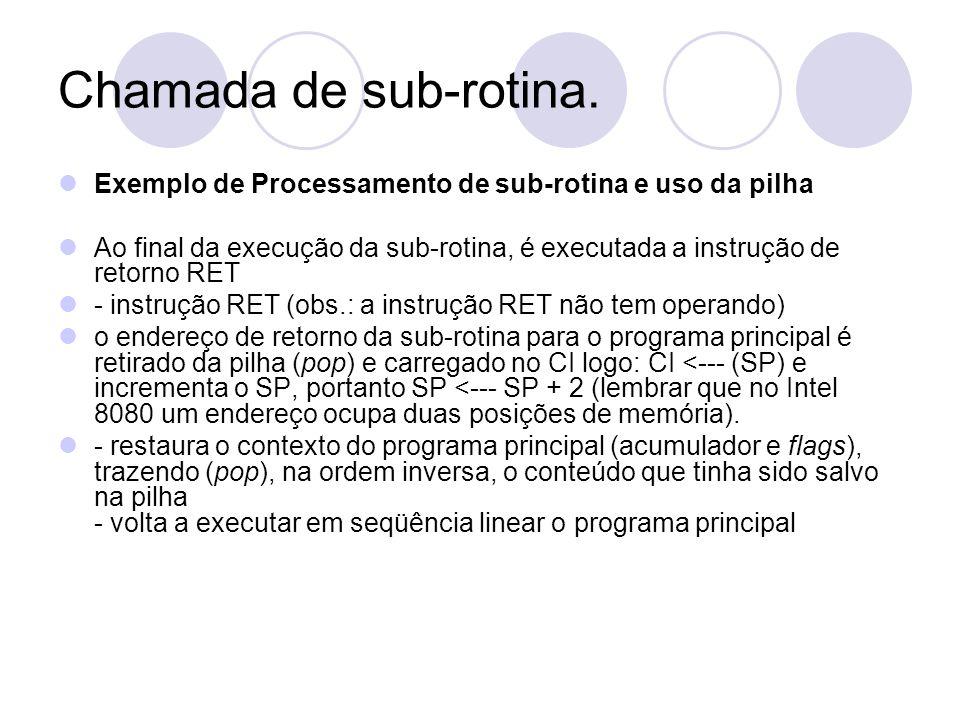 Chamada de sub-rotina. Exemplo de Processamento de sub-rotina e uso da pilha Ao final da execução da sub-rotina, é executada a instrução de retorno RE