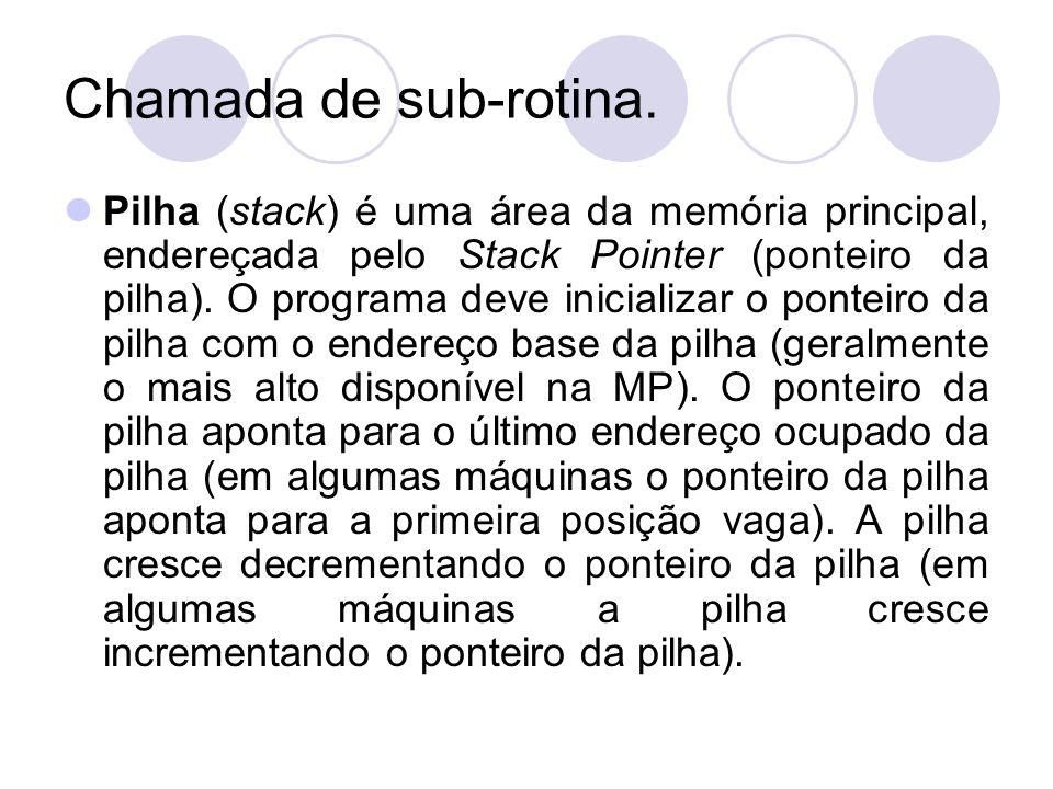 Chamada de sub-rotina. Pilha (stack) é uma área da memória principal, endereçada pelo Stack Pointer (ponteiro da pilha). O programa deve inicializar o