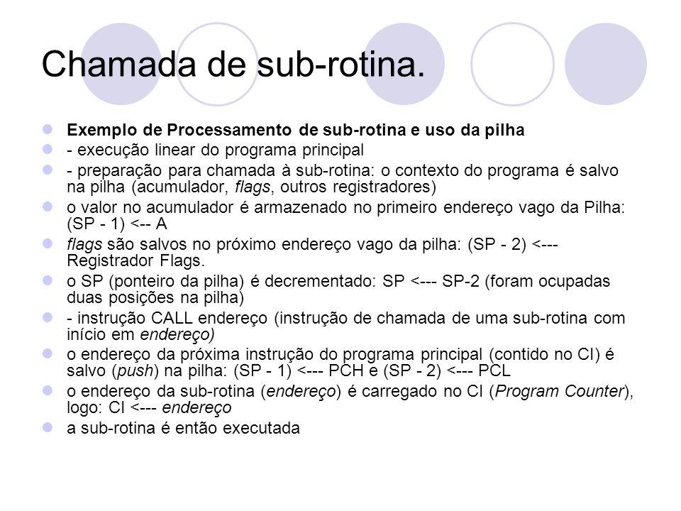 Chamada de sub-rotina. Exemplo de Processamento de sub-rotina e uso da pilha - execução linear do programa principal - preparação para chamada à sub-r