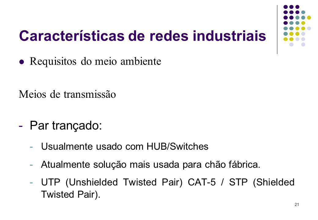 21 Características de redes industriais Requisitos do meio ambiente Meios de transmissão -Par trançado: -Usualmente usado com HUB/Switches -Atualmente