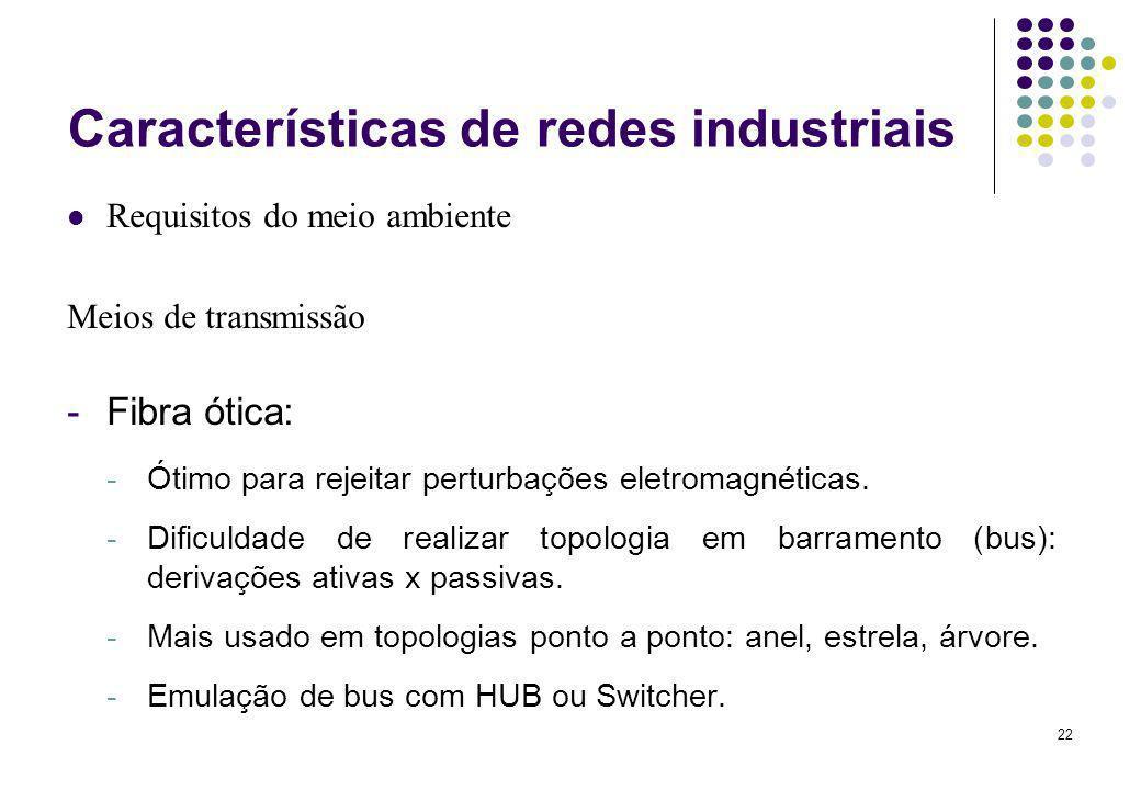 22 Características de redes industriais Requisitos do meio ambiente Meios de transmissão -Fibra ótica: -Ótimo para rejeitar perturbações eletromagnéti