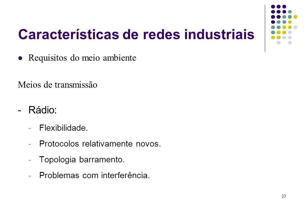23 Características de redes industriais Requisitos do meio ambiente Meios de transmissão -Rádio: -Flexibilidade. -Protocolos relativamente novos. -Top