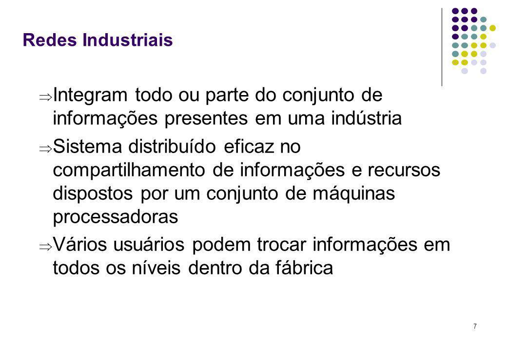 7 Redes Industriais Integram todo ou parte do conjunto de informações presentes em uma indústria Sistema distribuído eficaz no compartilhamento de inf
