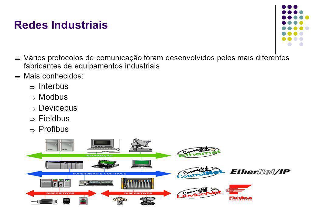 8 Redes Industriais Vários protocolos de comunicação foram desenvolvidos pelos mais diferentes fabricantes de equipamentos industriais Mais conhecidos