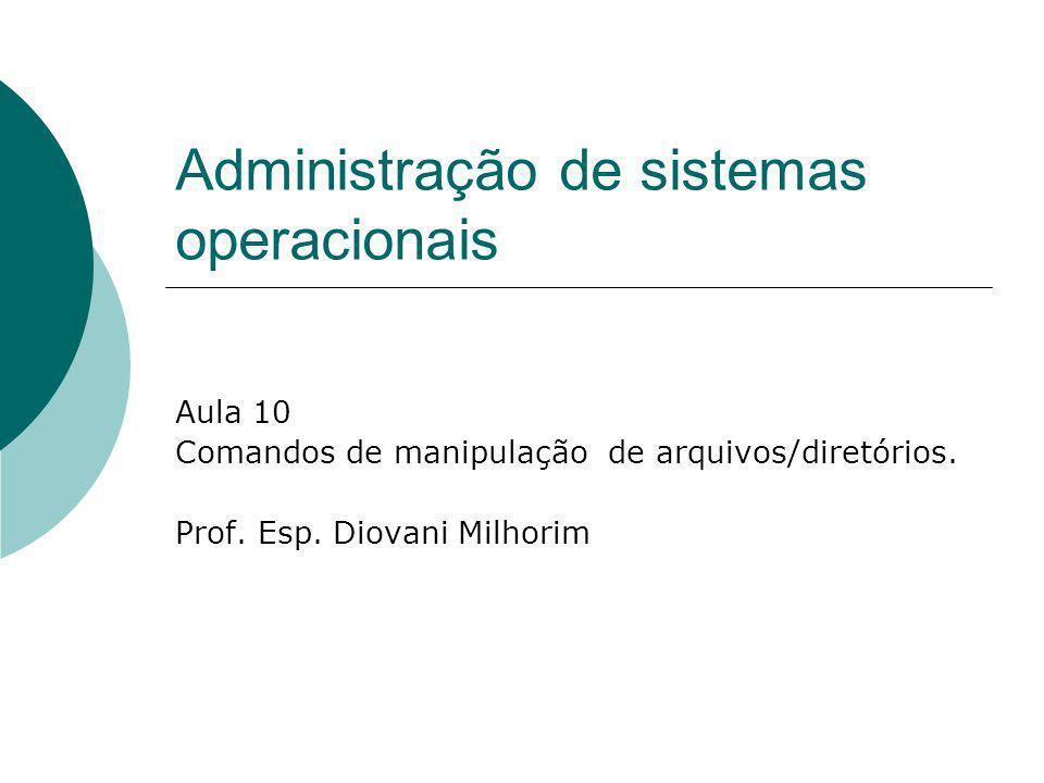 Administração de sistemas operacionais Aula 10 Comandos de manipulação de arquivos/diretórios. Prof. Esp. Diovani Milhorim