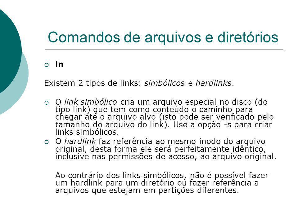 Comandos de arquivos e diretórios ln Existem 2 tipos de links: simbólicos e hardlinks. O link simbólico cria um arquivo especial no disco (do tipo lin