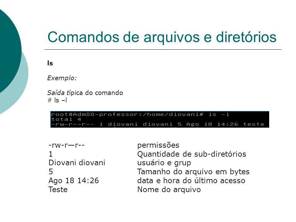 Comandos de arquivos e diretórios ls Exemplo: Saída típica do comando # ls –l -rw-rr-- permissões 1Quantidade de sub-diretórios Diovani diovaniusuário