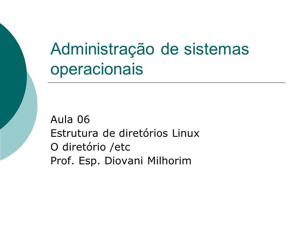 Administração de sistemas operacionais Aula 06 Estrutura de diretórios Linux O diretório /etc Prof. Esp. Diovani Milhorim