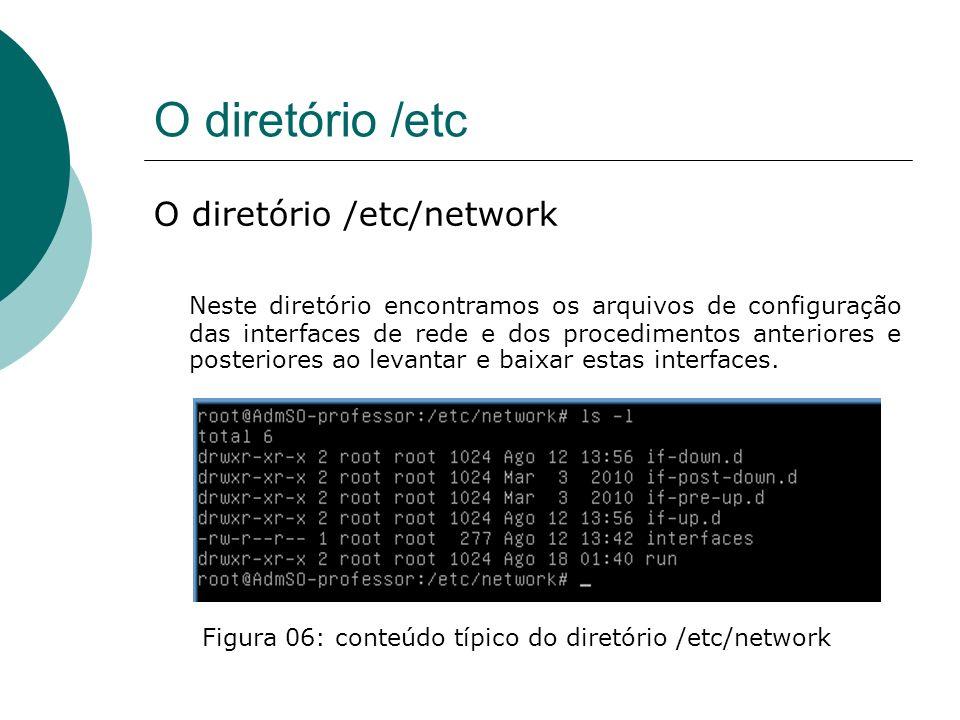 O diretório /etc O diretório /etc/network Podemos observar na figura anteriro o arquivo interfaces que contêm as informações sobre as interfaces e os diretórios com o scripts de procedimentos ao subir ou descer as interfaces de rede.