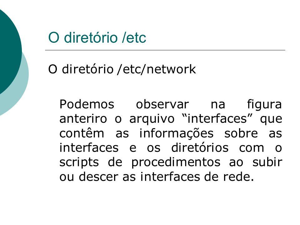 O diretório /etc O diretório /etc/network Podemos observar na figura anterior o arquivo interfaces que contêm as informações sobre as interfaces e os diretórios com o scripts de procedimentos ao subir ou descer as interfaces de rede.