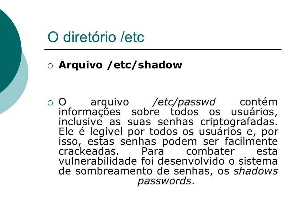 O diretório /etc Arquivo /etc/shadow Quando o sistema de sombreamento de senhas está disponível, o campo password do arquivo /etc/passwd é substituído por um x e o password do usuário é armazenado no arquivo /etc/shadow.