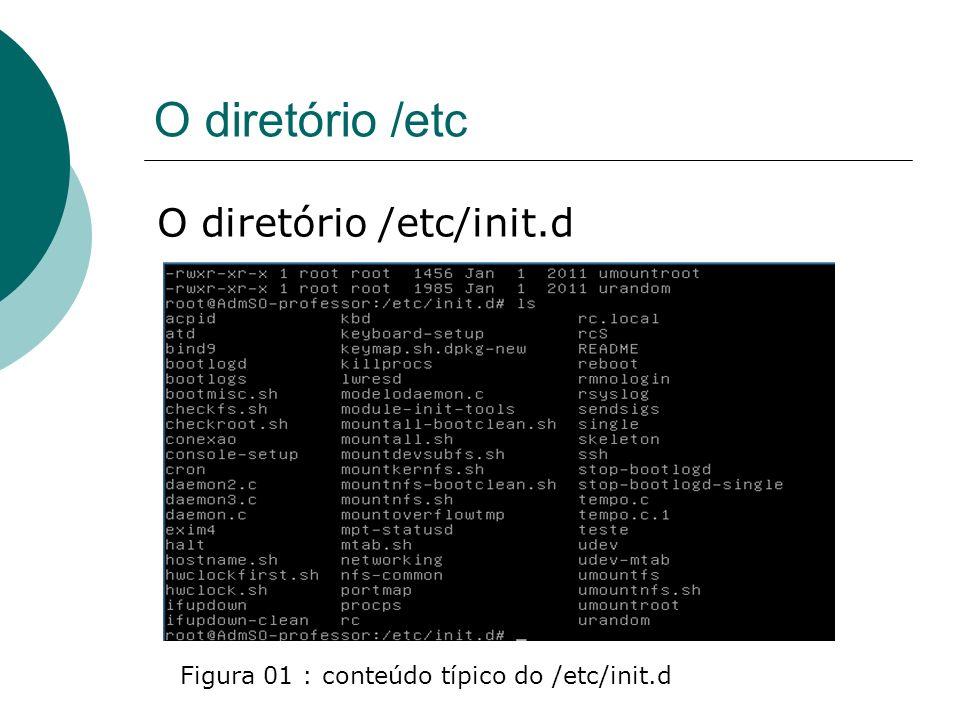 O diretório /etc O diretório /etc/init.d Encontramos no /etc/init.d nas distribuições debian, um script genérico chamado skeleton, que na verdade é um modelo de script que poderá ser usado para partir qualquer serviço, bastando para isto modificá-lo da forma adequada
