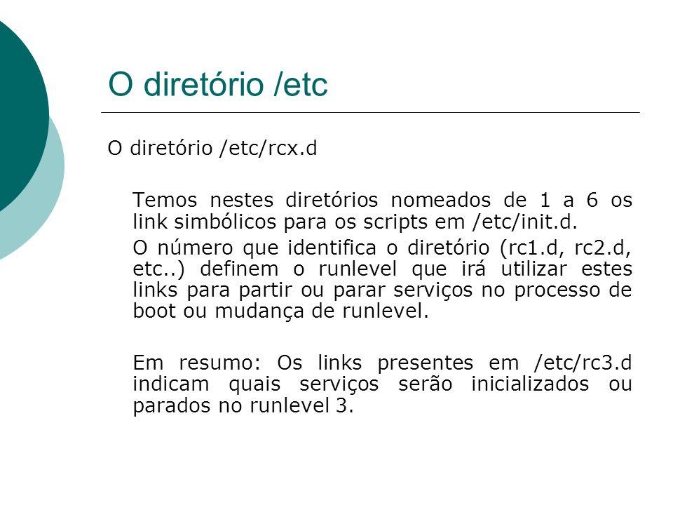 O diretório /etc O diretório /etc/rcx.d Temos nestes diretórios nomeados de 1 a 6 os link simbólicos para os scripts em /etc/init.d. O número que iden