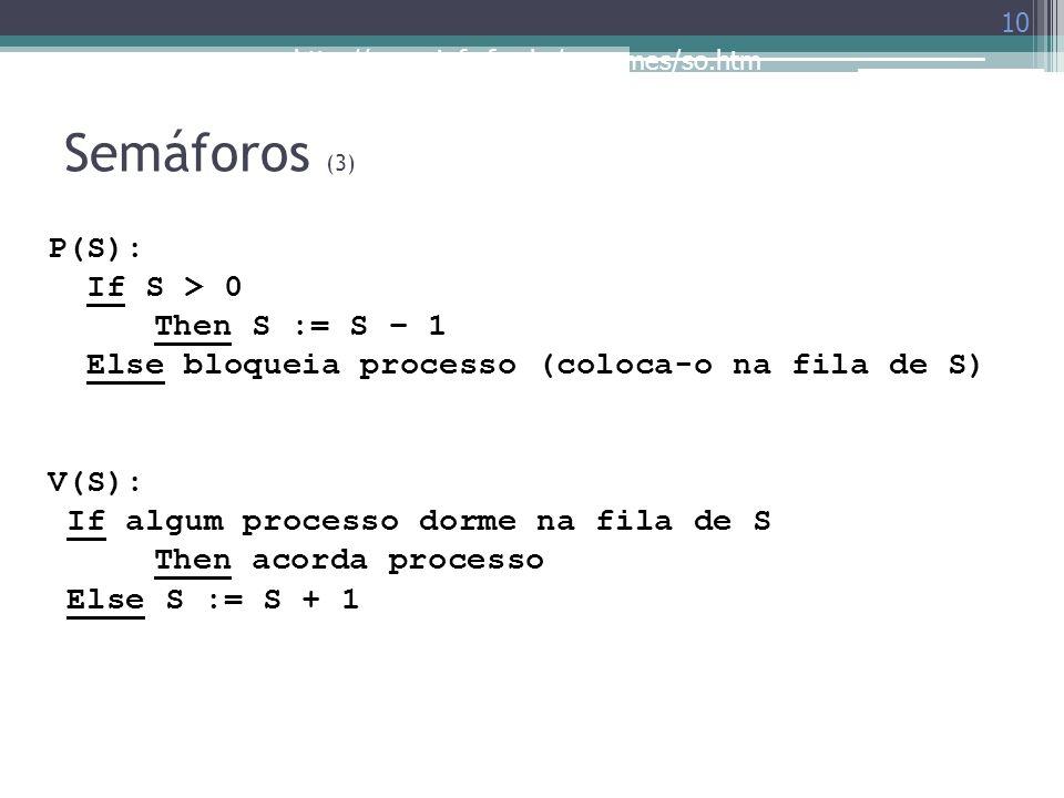http://www.inf.ufes.br/~rgomes/so.htm Semáforos (3) 10 P(S): If S > 0 Then S := S – 1 Else bloqueia processo (coloca-o na fila de S) V(S): If algum pr