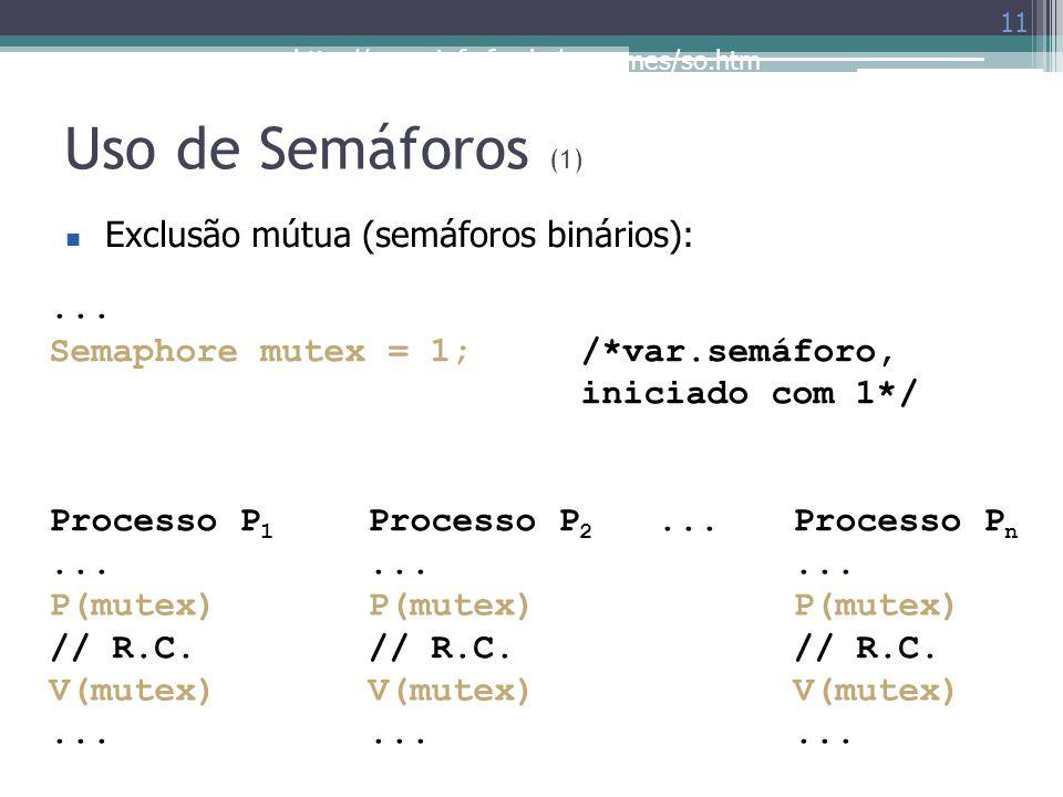 http://www.inf.ufes.br/~rgomes/so.htm Uso de Semáforos (1) 11 Exclusão mútua (semáforos binários):... Semaphore mutex = 1;/*var.semáforo, iniciado com