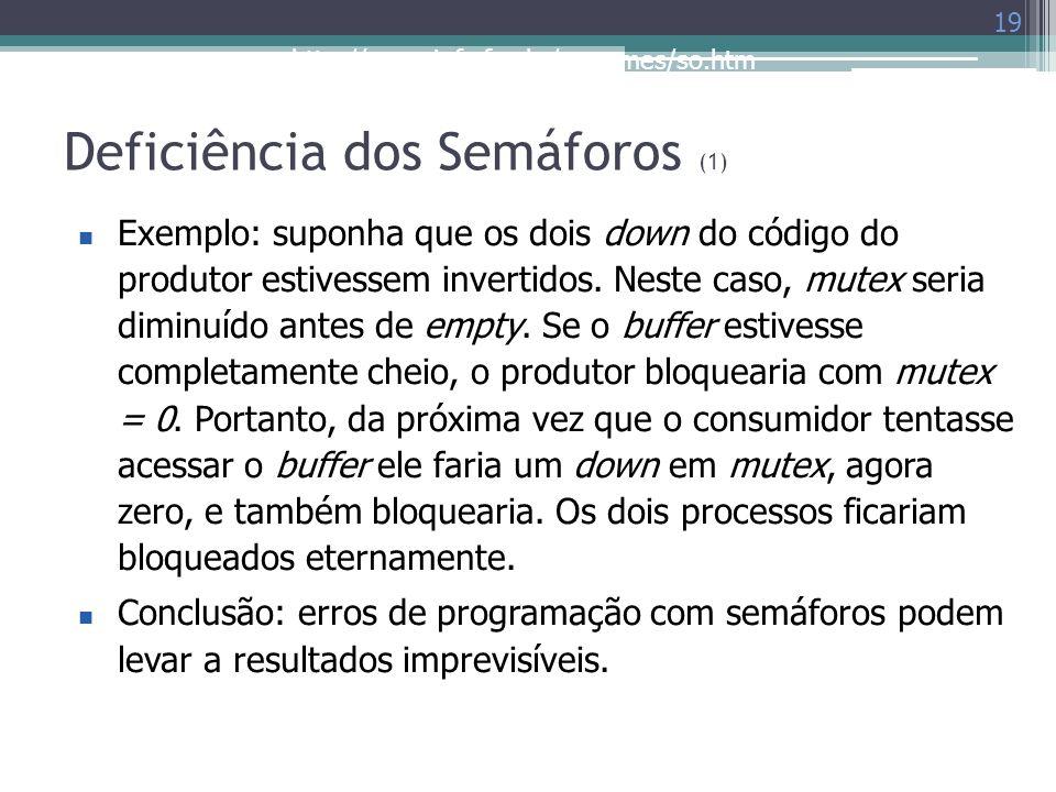 http://www.inf.ufes.br/~rgomes/so.htm Deficiência dos Semáforos (1) 19 Exemplo: suponha que os dois down do código do produtor estivessem invertidos.