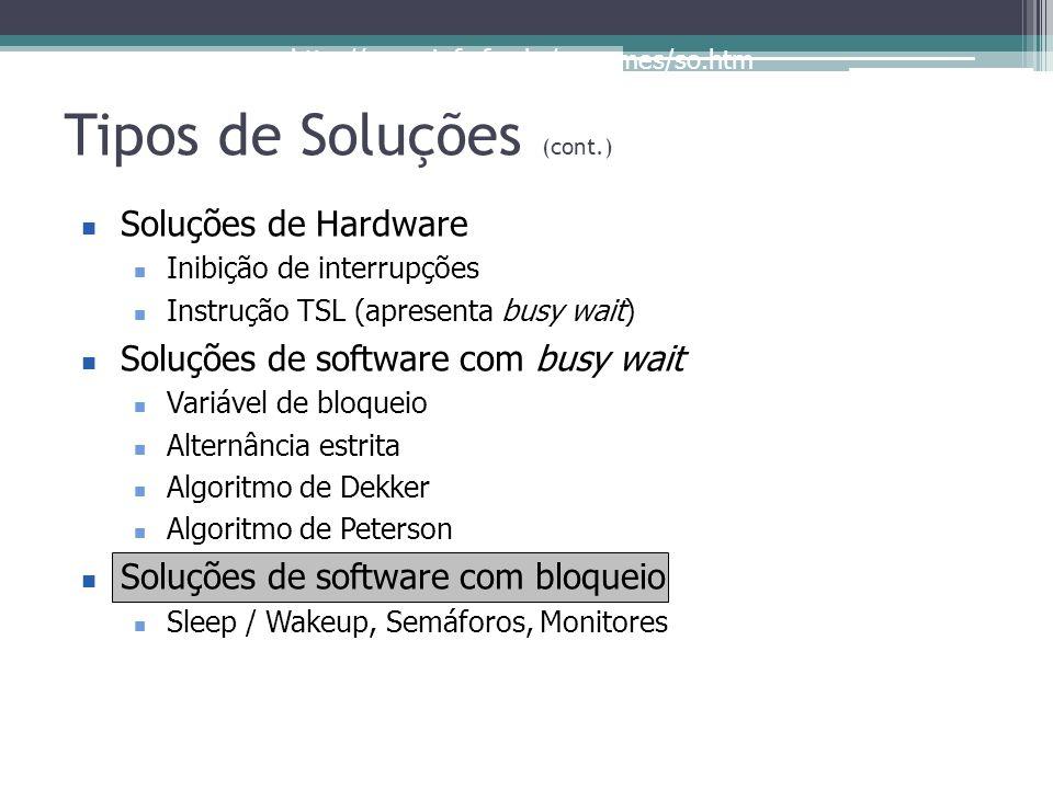 http://www.inf.ufes.br/~rgomes/so.htm Tipos de Soluções (cont.) Soluções de Hardware Inibição de interrupções Instrução TSL (apresenta busy wait) Solu